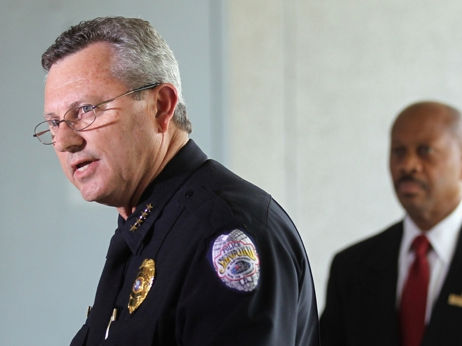 Sanford Police Department Chief Bill Lee (left) announces he will temporarily step down in the wake of the Trayvon Martin killing. (Getty Images)