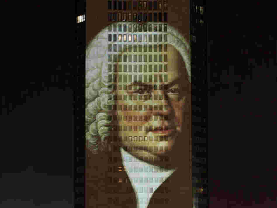A portrait of Bach, projected in December 2005 on a skyscraper in his longtime home city of Leipzig, Germany.