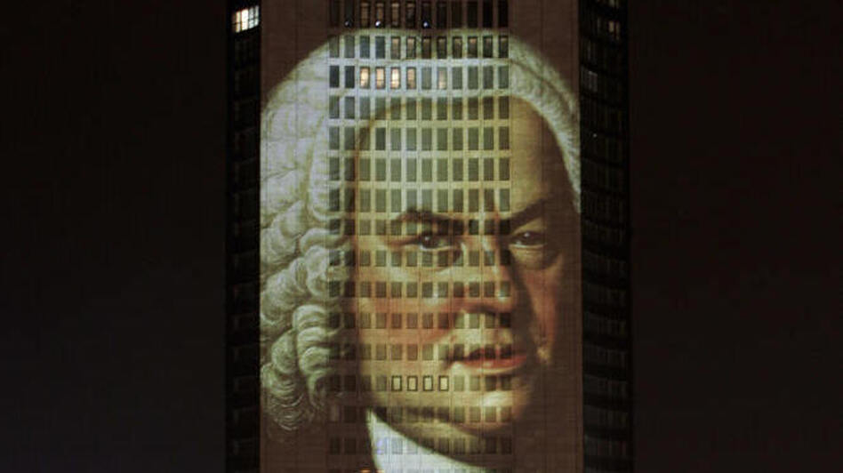 A portrait of Bach, projected in December 2005 on a skyscraper in his longtime home city of Leipzig, Germany. (AFP/Getty Images)