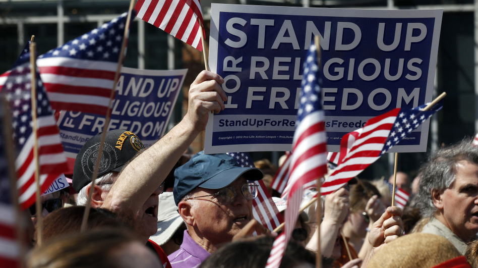 Protesters rally for religious freedom in front of Philadelphia's Independence Hall on Friday. Rallies took place nationwide to protest the mandate that some religious organizations cover the cost of contraception. (AP)