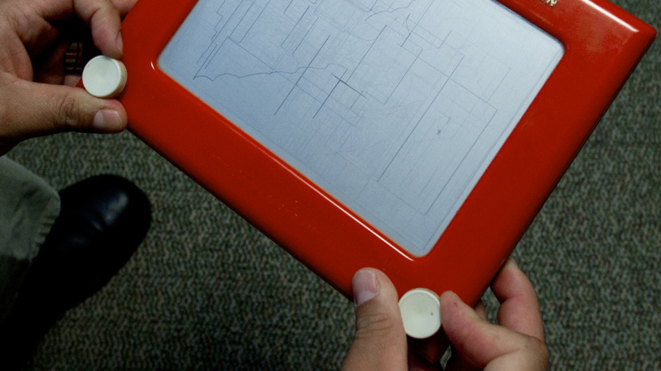 Etch A Sketch: The two with knobs on both sides. (AFP/Getty Images)