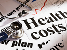 Health cost headlines, a stethosocope and a rising graph.