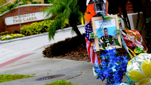 A memorial to Trayvon Martin sits outside The Retreat at Twin Lakes community in Sanford, Fla., where the teenager was shot and killed by George Michael Zimmerman. (Getty Images)