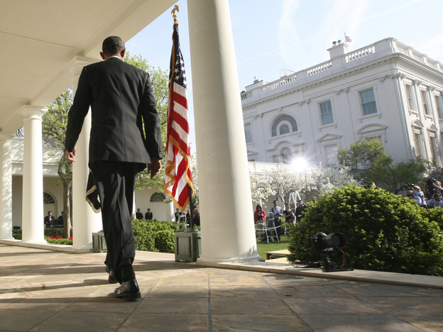President Obama heading to the White House Rose Garden, on Friday, March 23, 2012, where he made his first public comments about the Trayvon Martin. (AP)