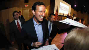 "Rick Santorum told voters in Mandeville, La. on Wednesday that they were ""not looking for someone who's the Etch A Sketch candidate."""