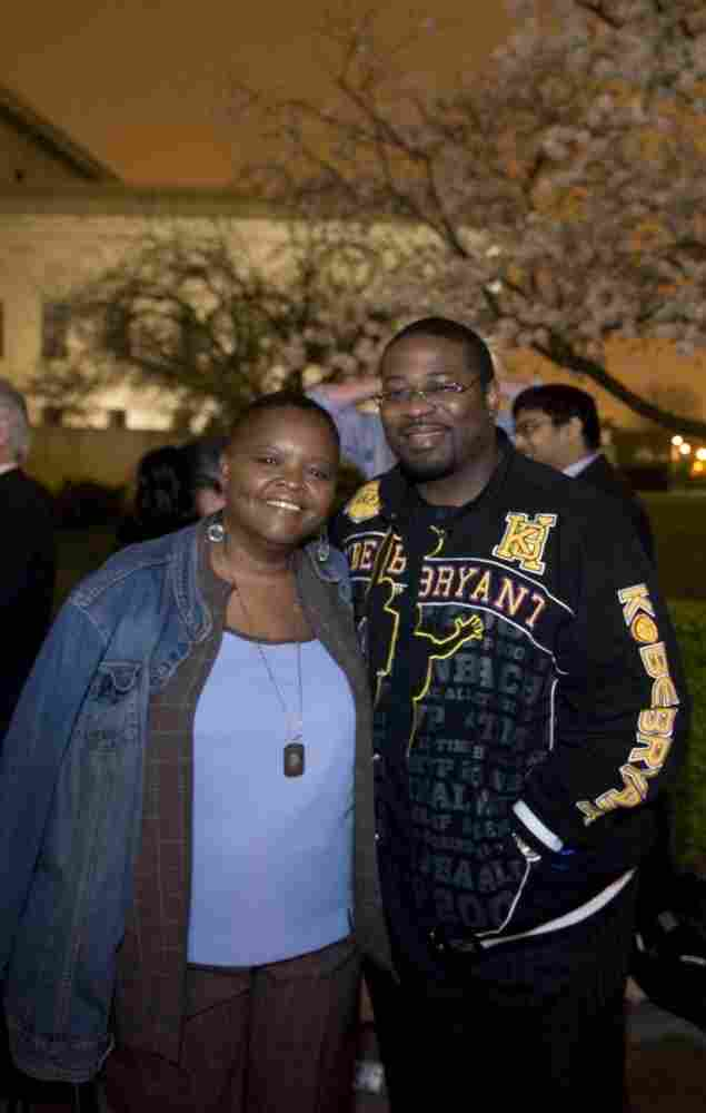Mary Johnson and Oshea Israel wait outside the Supreme Court for Tuesday's hearing on whether it is unconstitutional to sentence teenagers to life in prison without the possibility of parole. When he was 16, Israel shot and killed Johnson's son.