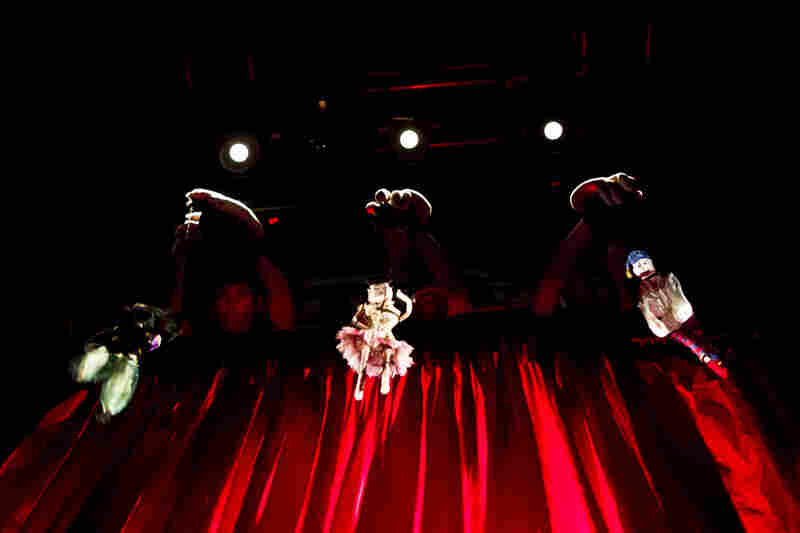 Marionettes (and their manipulators) perform puppeteer Basil Twist's adaptation of Petrushka, backstage at the Shakespeare Theatre Company in Washington, D.C.