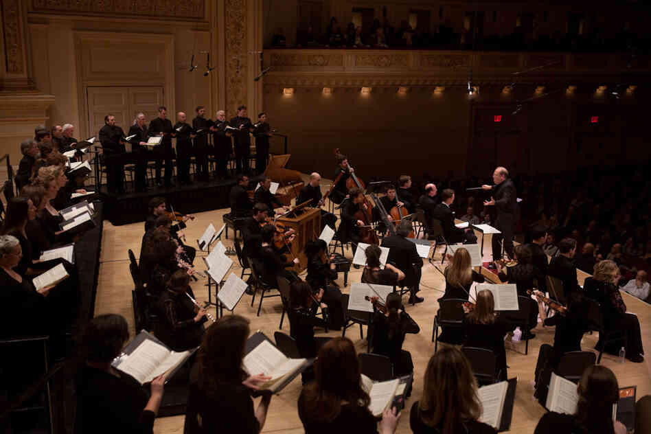 Music Director and Conductor Bernard Labadie leads the orchestra called Les Violons du Roy (The King's Violins), plus La Chapelle de Quebec and vocal soloists in Bach's St. John Passion at Carnegie Hall.