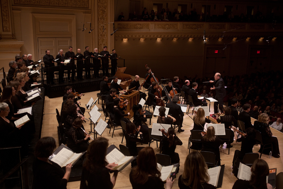 Music Director and Conductor Bernard Labadie leads the orchestra called Les Violons du Roy (The King's Violins), plus La Chapelle de Quebec and vocal soloists in Bach's St. John Passion at Carnegie Hall.  (NPR)