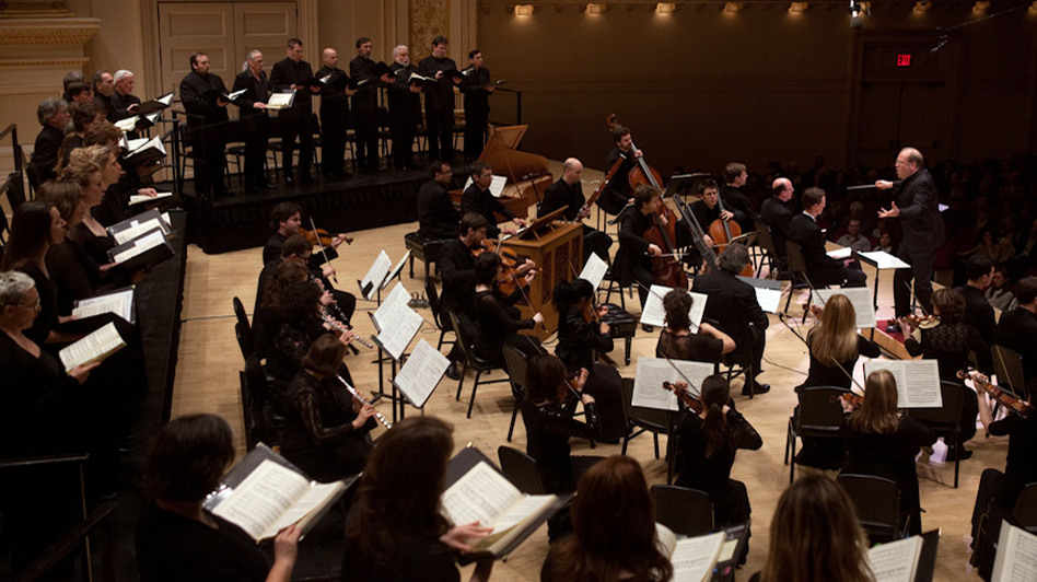 Music Director Bernard Labadie conducts Les Violons du Roy and soloists in Bach's St. John Passion at Carnegie Hall. (NPR)