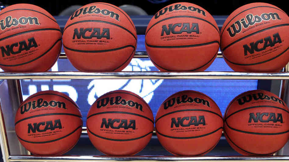 NCAA basketballs.