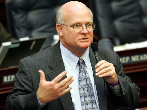 Rep. Dennis Baxley, R-Ocala, explains the protection of persons/use of force bill during House session, Thursday, March 31, 2005, in Tallahassee, Fla. The bill passed on House vote. Baxley joins us on the Opinion Page to talk