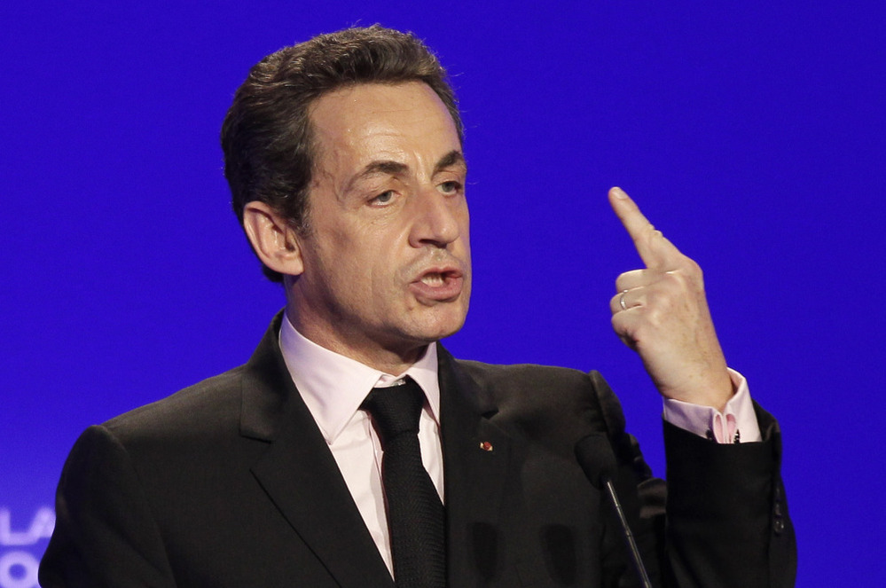 France's President and candidate for re-election in 2012, Nicolas Sarkozy, gestures as he delivers a speech during a meeting in Ormes, France on Monday.