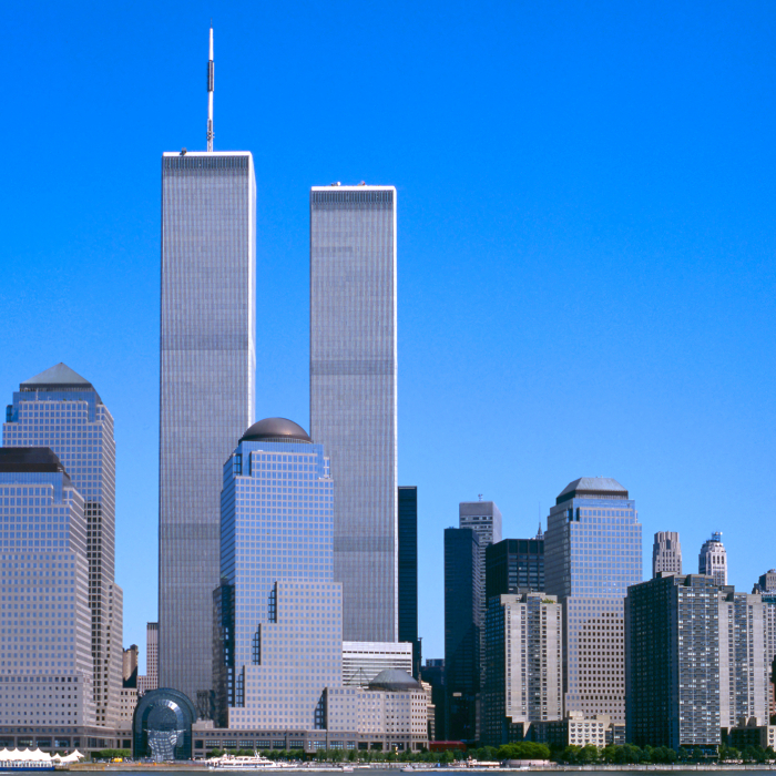 The New York City skyline before the World Trade Center towers collapsed.