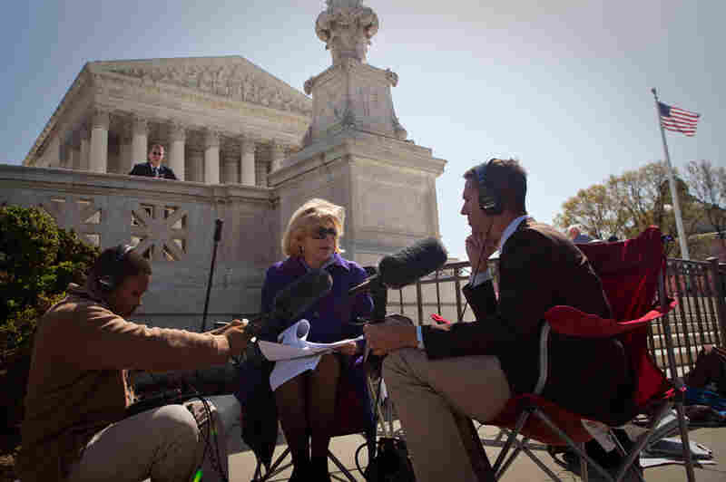 NPR's Nina Totenberg speaks with Ari Shapiro at the end of the first day of oral arguments.
