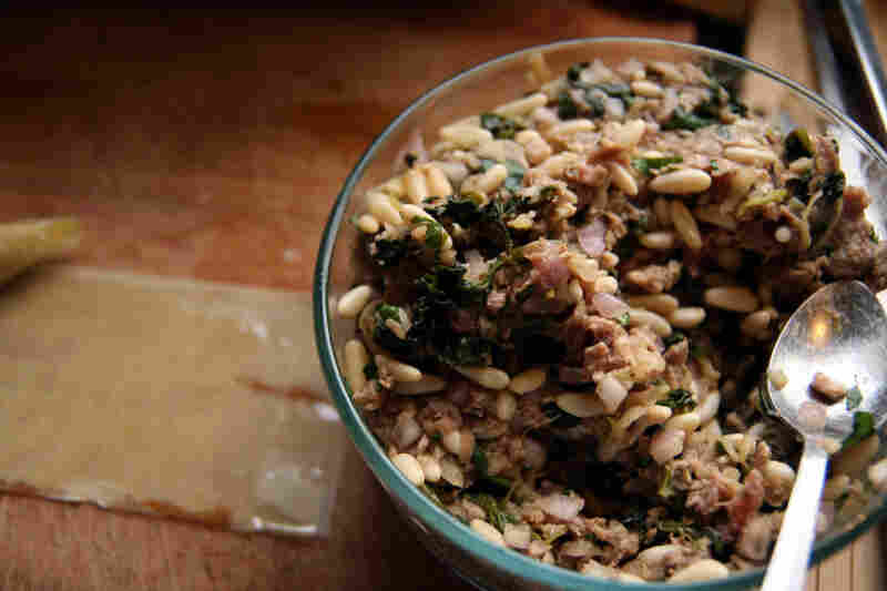A filling of ground lamb, pine nuts, apples, aromatics, herbs and spices for the Tart-Sweet Lamb Borek.
