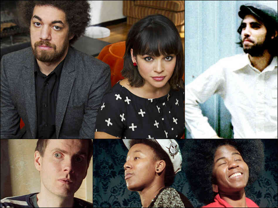 Clockwise from upper left: Danger Mouse and Norah Jones, Patrick Watson, THEESatisfaction, Jonsi of the band Sigur Ros.