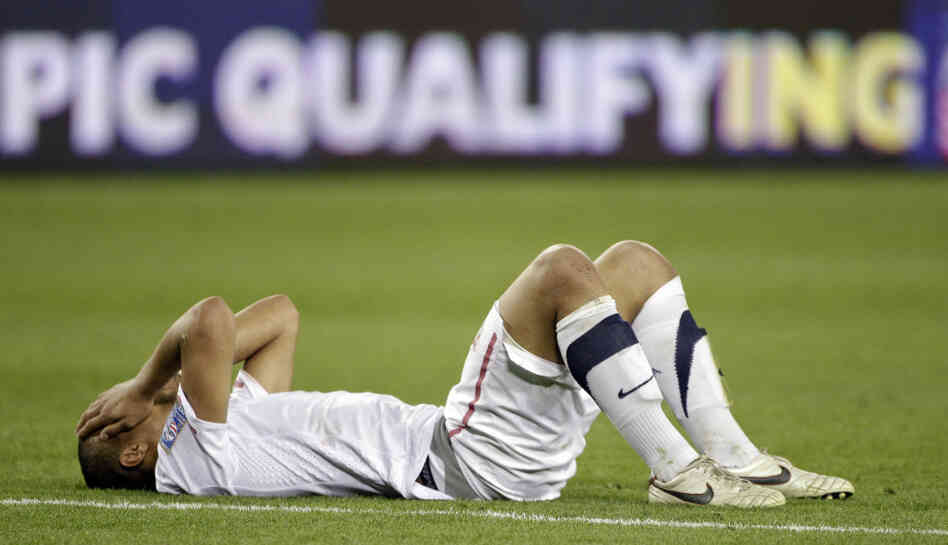 Terrence Boyd of the United States lies on the field after the United States tied 3-3 with El Salvador in a CONCACAF Olympic qualifying soccer match on Monday.