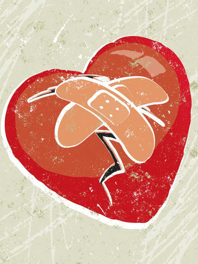 A bandaged heart.