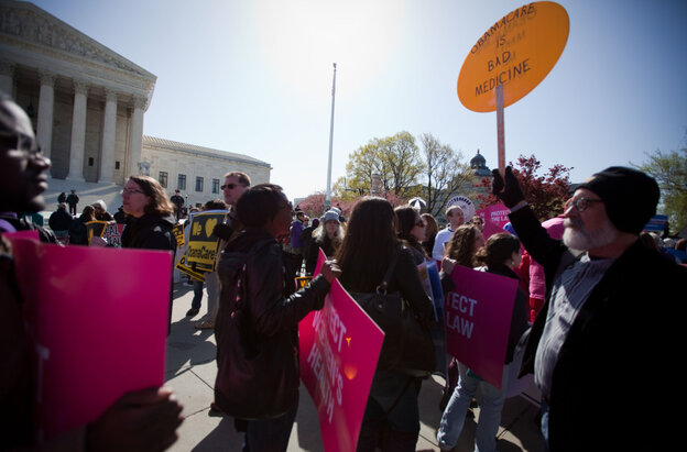 Supporters and opponents of the health care law rallied in front of the Supreme Court Tuesday, as the court considered the constitutionality of the insurance mandate.