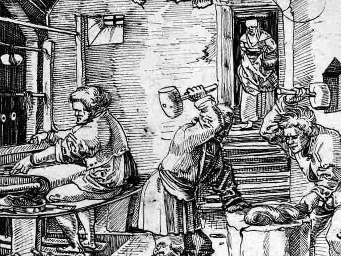 Engraving of a weaver's workshop, 1558
