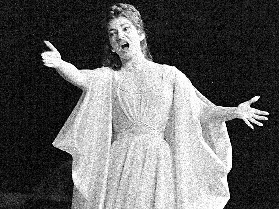 Maria Callas, a masterful bel canto singer, performs in the title role of Bellini's <em>Norma</em> in Paris, May 23, 1964.