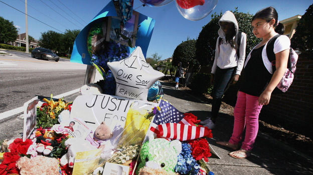 A memorial to Trayvon Martin outside The Retreat at Twin Lakes community in Sanford, Fla., where he was killed. (Getty Images)