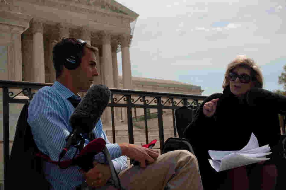 NPR's Nina Totenberg speaks with Ari Shapiro at the end of Wednesday morning's arguments about the health care overhaul law.