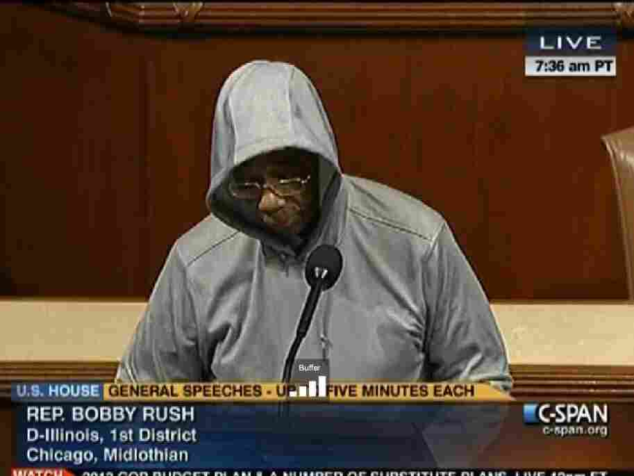 Rep. Bobby Rush, D-Ill., during his hooded statement on the House floor.