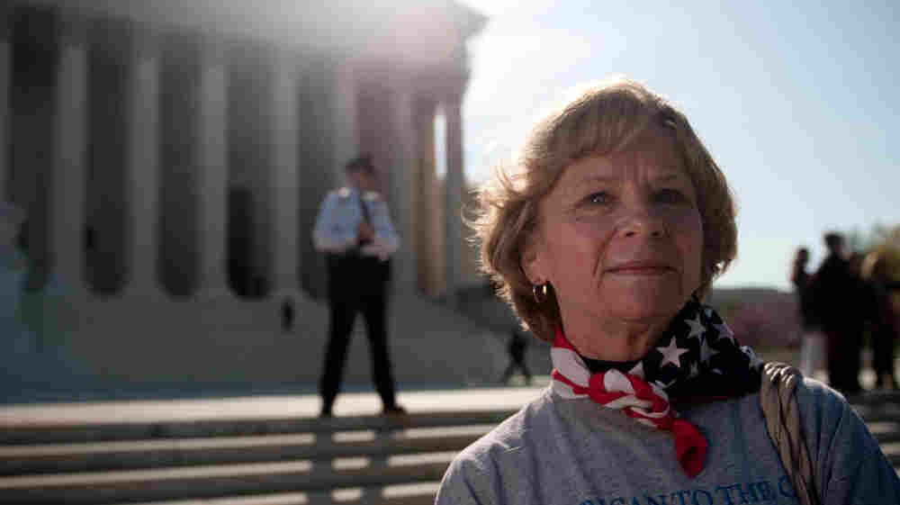 Carolyn Weller came from Idaho to join the scene outside the Supreme Court.