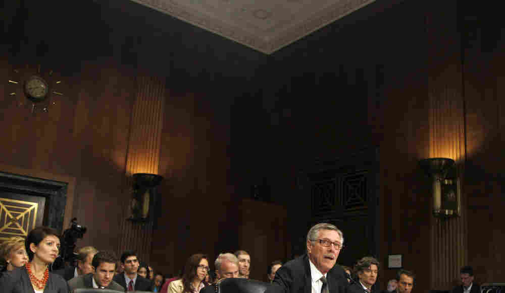 Special federal prosecutor Henry F. Schuelke testifies on Capitol Hill in Washington on Wednesday.
