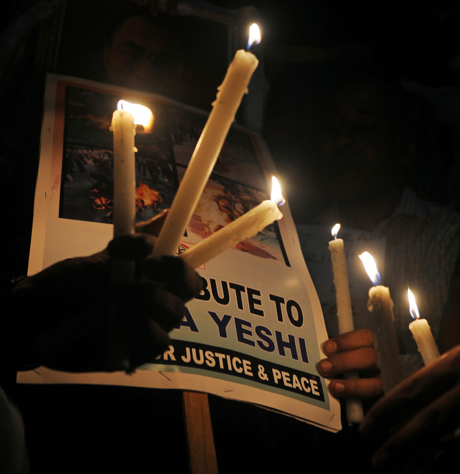 In Kolkata on Tuesday, exiled Tibetans and human rights activists held a candlelight for Jamphel Yeshi.