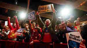 Demonstrators cheer the effort to recall Wisconsin Gov. Scott Walker on Jan. 17 in Madison.