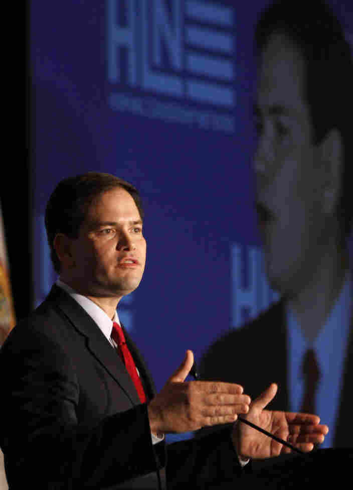 Sen. Marco Rubio, R-Fla., talks at the Hispanic Leadership Network in Miami on Jan. 27.