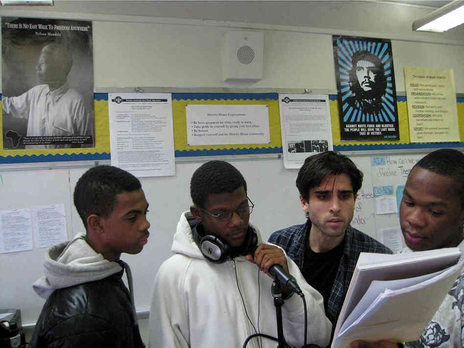 Students at Brooklyn Community Arts & Media High School who call themselves the Swaggbrarians have remixed music by Beethoven. (L-R) Brandon Jones, Daniel Simpson, instructor Adam Miller, Jalan Barber.
