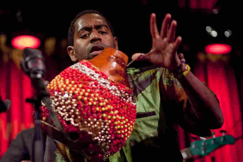 Saxophonist Yosvany Terry on chekeré.