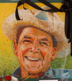 A portrait of President Ronald Reagan made from jel