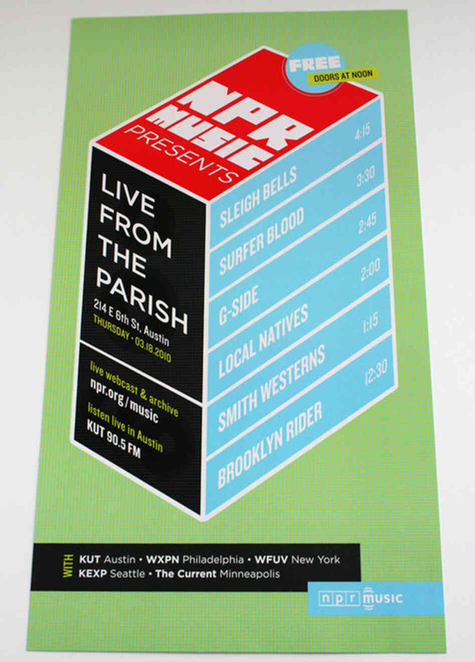 HOW Magazine 2011: A poster from NPR Music's popular day party at The Parish in Austin, 2010.