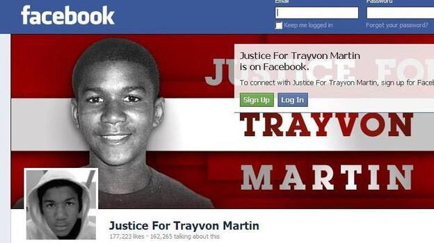 Part of the awareness raising effort: the Justice for Trayvon Martin page on Facebook. (Facebook.com)