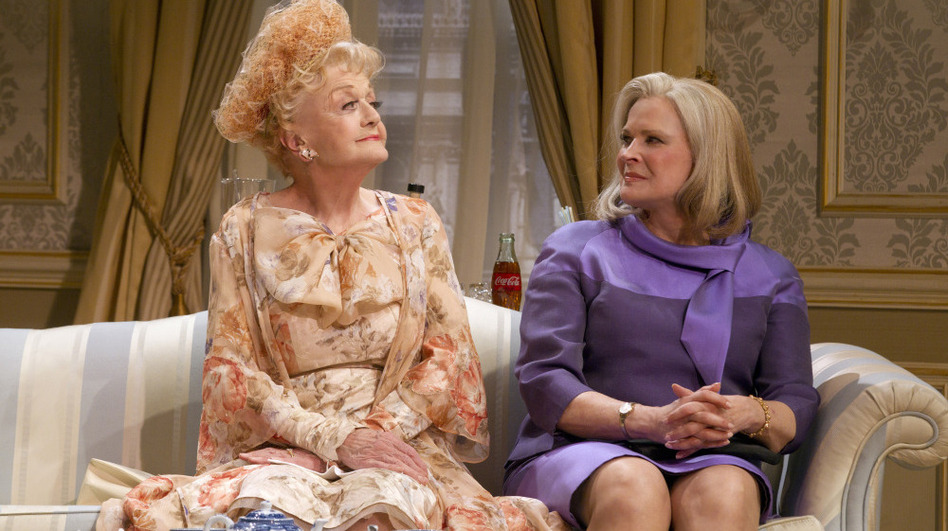 Candice Bergen (right) plays William Russell's estranged wife, while Angela Lansbury plays the chairperson of her party's women's division. (   )