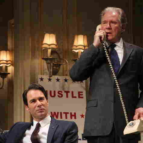 William Russell (John Larroquette, right), a blue-blooded, Harvard-educated former secretary of state, matches wits with rival presidential candidate Joe Cantwell (Eric McCormack), a scrappy conservative senator in the Broadway revival of The Best Man.