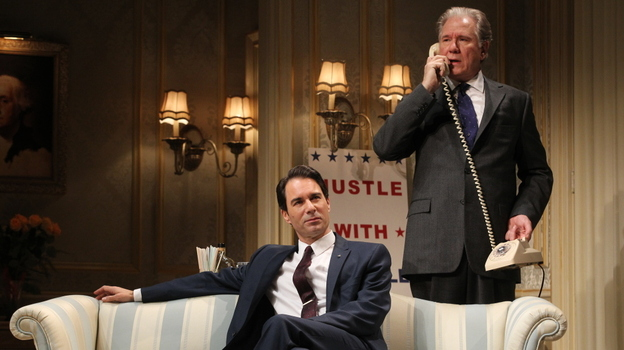 William Russell (John Larroquette, right), a blue-blooded, Harvard-educated former secretary of state, matches wits with rival presidential candidate Joe Cantwell (Eric McCormack), a scrappy conservative senator in the Broadway revival of The Best Man. (  )