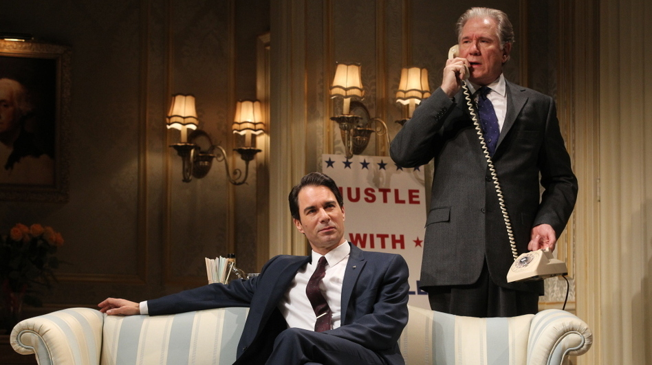 William Russell (John Larroquette, right), a blue-blooded, Harvard-educated former secretary of state, matches wits with rival presidential candidate Joe Cantwell (Eric McCormack), a scrappy conservative senator in the Broadway revival of <em>The Best Man</em>.