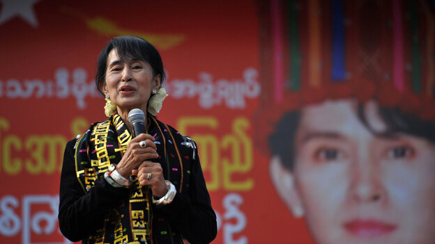 Pro-democracy leader Aung San Suu Kyi addresses supporters in Myitkyina on Feb. 24.