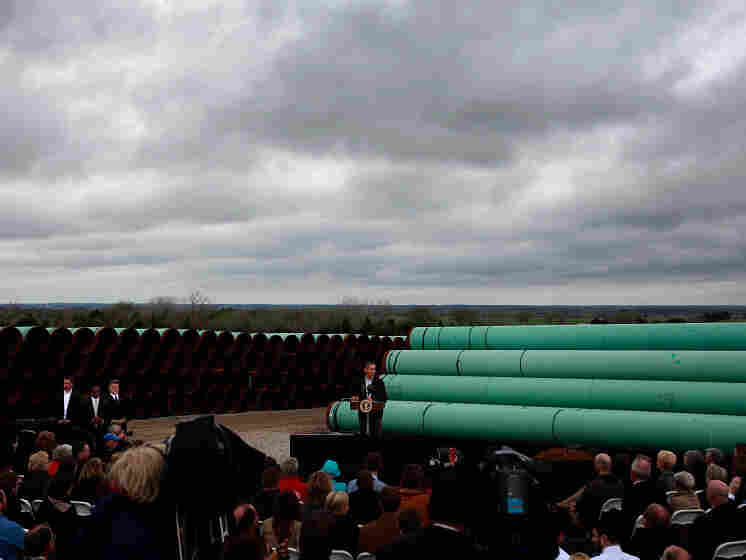 U.S. President Barack Obama speaks at the southern site of the Keystone XL pipeline on March 22, 2012 in Cushing, Oklahoma. Obama is pressing federal agencies to expedite the section of the Keystone XL pipeline between Oklahoma and the Gulf Coast.