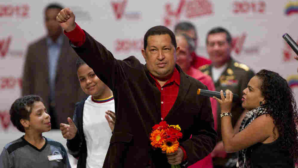 Venezuelan President Hugo Chavez appears at an event in Caracas, Venezuela, on Thursday, after returning from radiation therapy in Cuba.