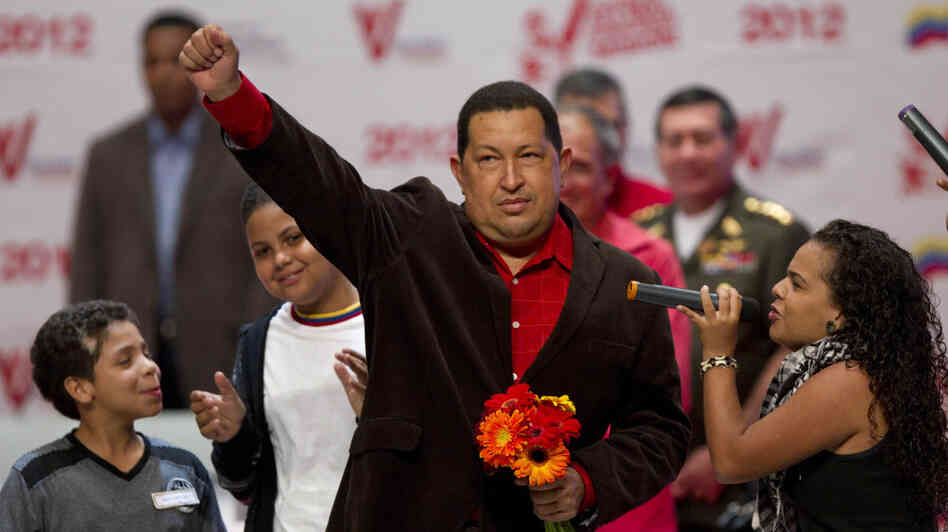 Venezuelan President Hugo Chavez appears at an event in Caracas, Venezuela, on Thursday, after returning from radiation therapy in Cuba