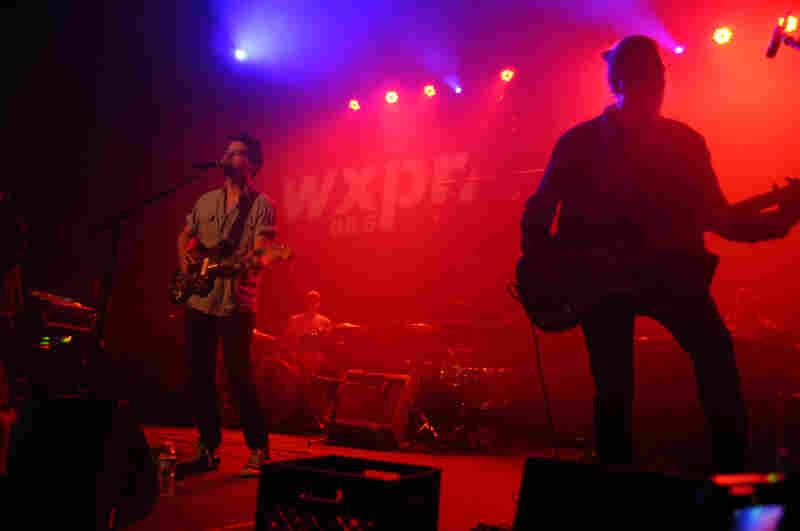 Bassist Jon Jamenson looms large next to lead singer Matt Vazquez.