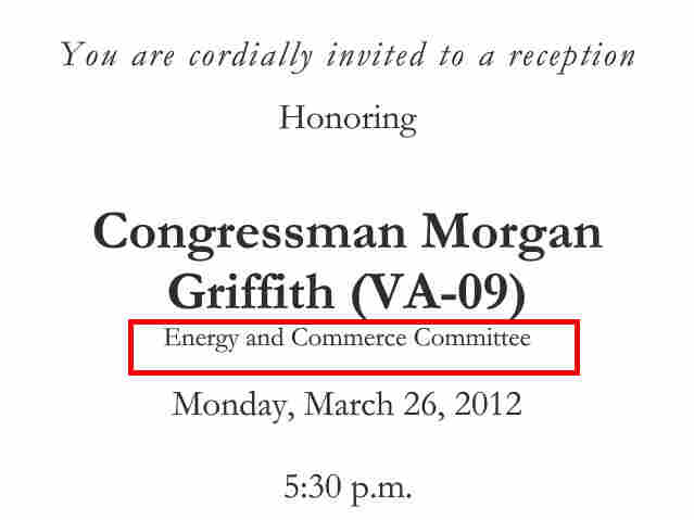 Invitations to fundraisers for members of Congress frequently mention which committees they serve on.