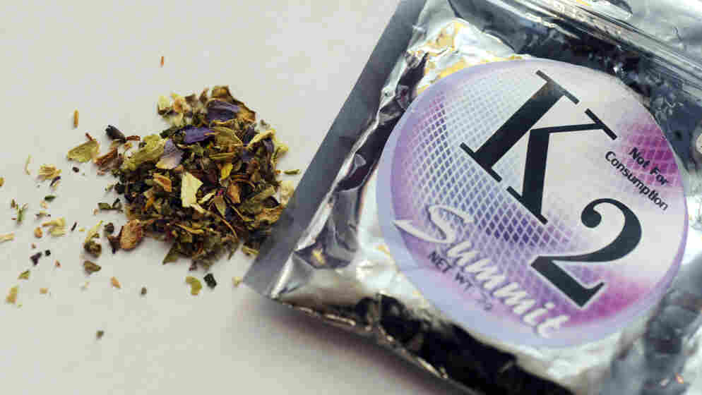 A package of K2, a concoction of dried herbs sprayed with chemicals sometimes called synthetic marijuana. New York moved to ban a wide range of products like these this week.